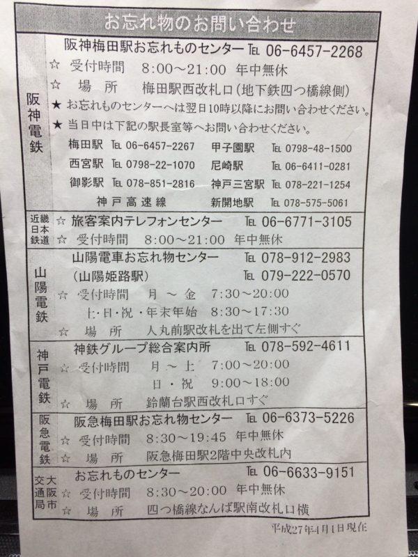 忘れ物お問合せ先一覧・関西電車